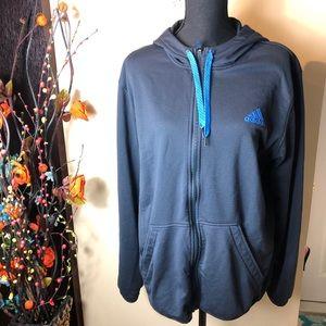 Adidas Navy Blue Full zip Hoodie Large